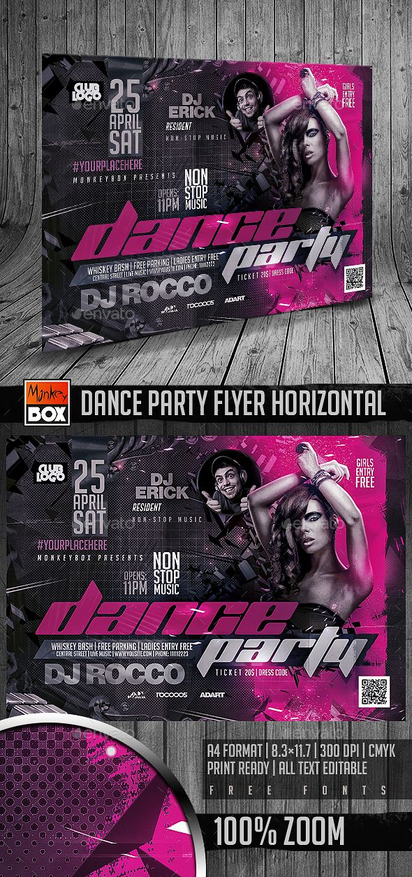 Dance Party Flyer Horizontal Pinterest Party Flyer Template And