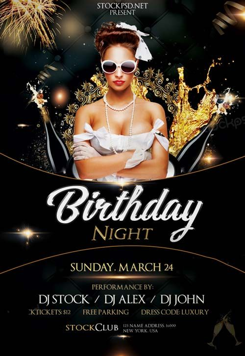 Awesome Birthday Gold Night Free PSD Flyer Template   Http://freepsdflyer.com/