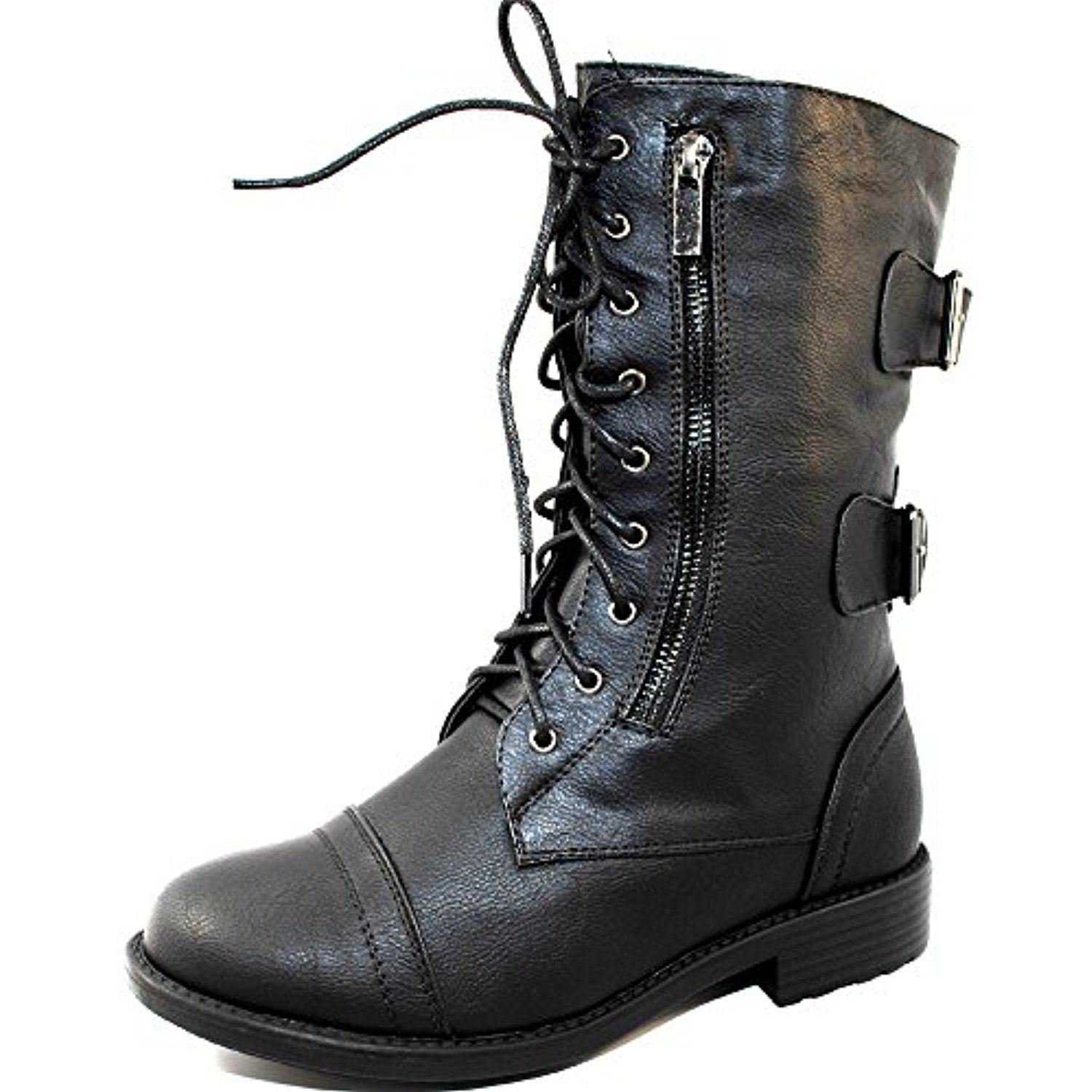 TrendSup Anya-1 Women's Military Lace up Mid Calf Combat Boots