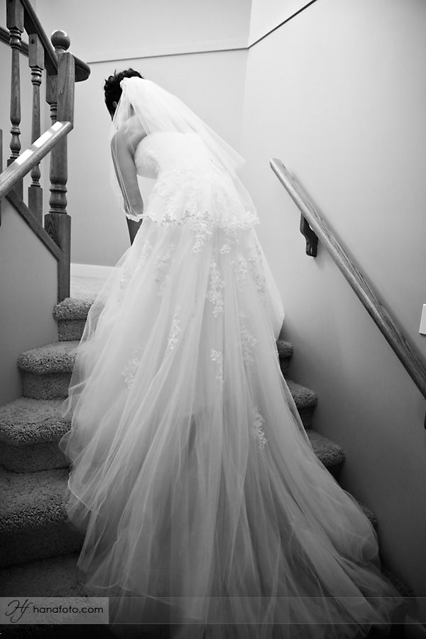 Calgary Wedding Photographers Bride on stairs, back of tulle lace ...