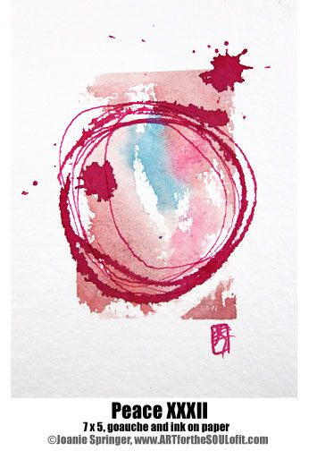 Peace Xxxii 5 X 7 Original Gouache And Ink Abstract Enso