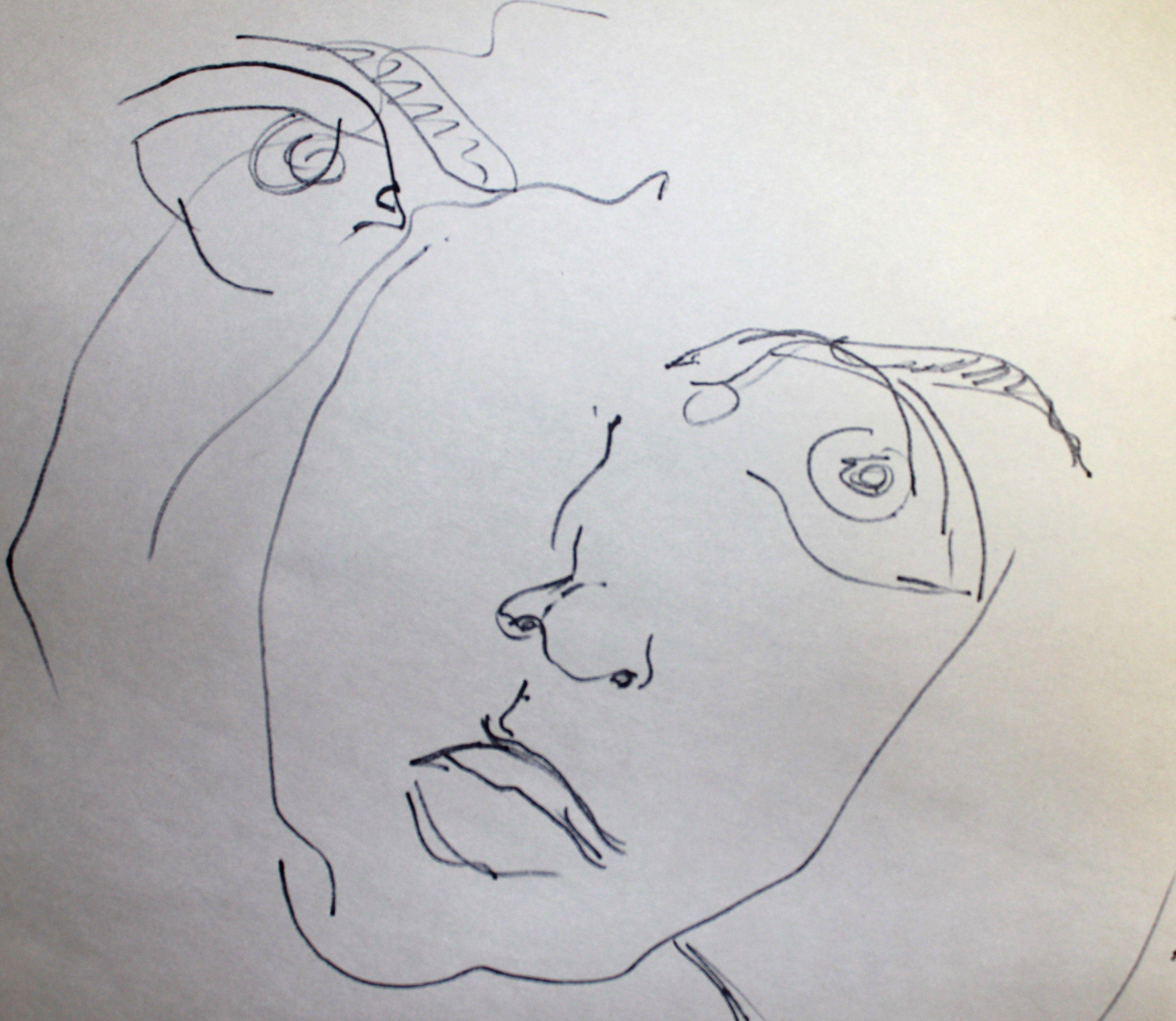 Blind Contour Line Drawing Self Portrait : Blind contour drawing self portraits pinterest