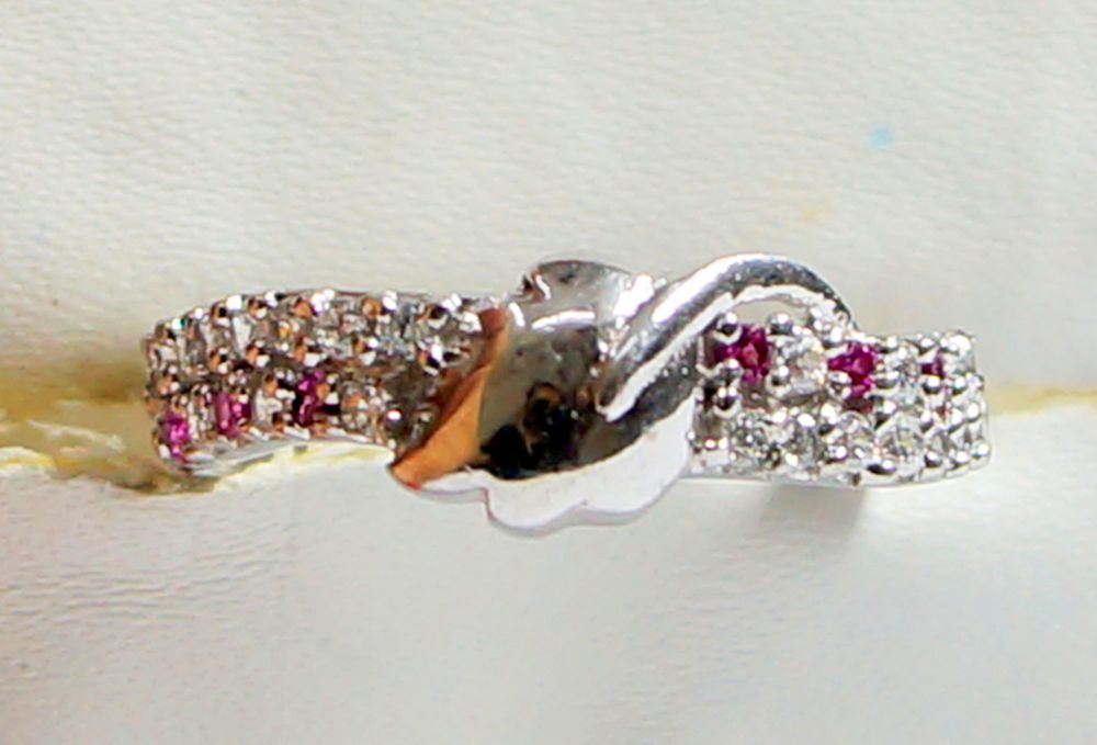 Sterling Silver  925 Pink & White CZ Filled Lady Ring Gift Size 5.50   - SR055 #CubicZirconCZ #Spinner