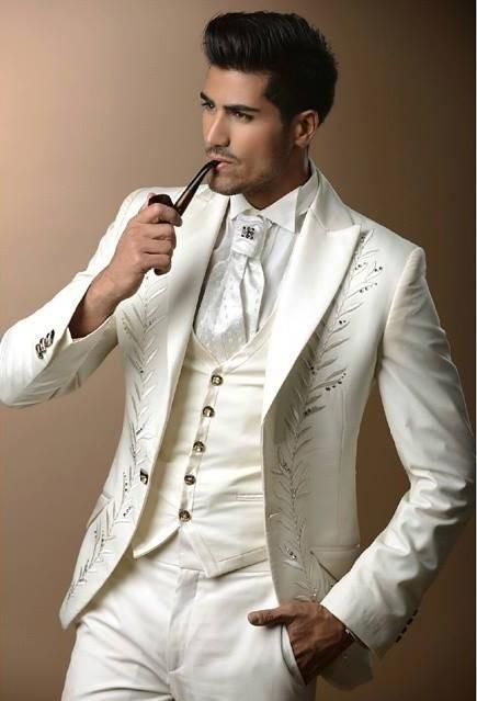 8b22f10be3 Click to Buy << New Arrival Ivory Embroidery Groom Tuxedos Groomsmen Men  Wedding Party Suits Best Man Custom Made (Jacket+Pants+Vest) K:164  #Affiliate