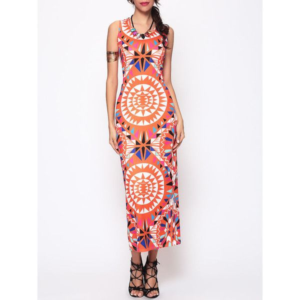 Tribal Geometric Printed Round Neck Maxi Dress (61 BRL) ❤ liked on Polyvore featuring dresses, night out dresses, beach maxi dress, collar dress, white dress and fitted dresses