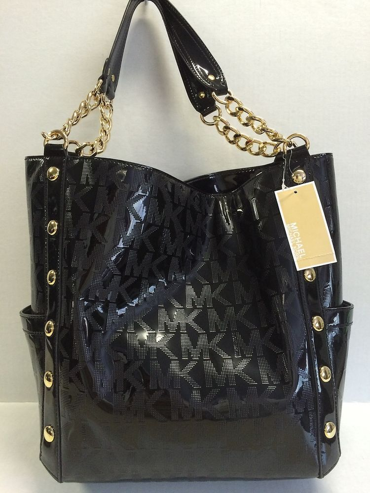 6882fd8275 Michael Kors Delancy Black MK Mirror Chain Large Tote Purse Handbag  498