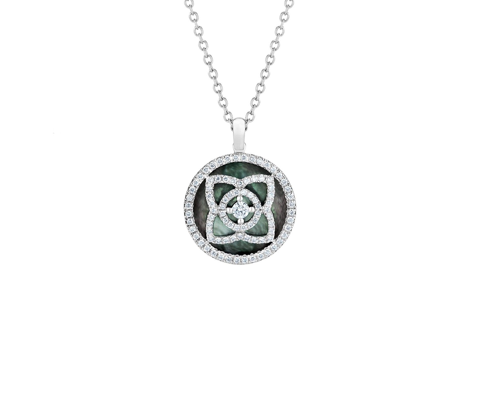 Enchanted lotus white gold grey mother of pearl pendant