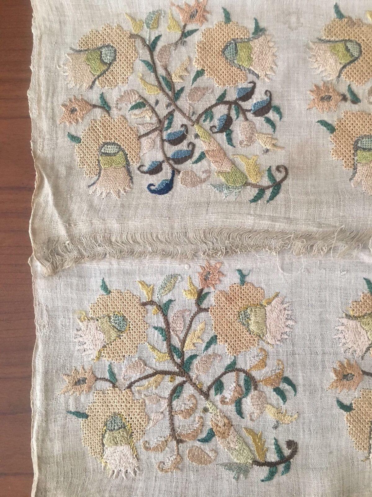 19th Antique Ottoman Turkish Silk Hand Embroidery On Linen