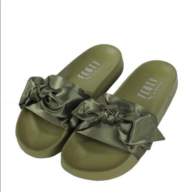 newest 4e04f e3353 Puma Shoes | Puma Fenty Olive Green Slides | Color: Green ...