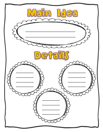 Main Idea Graphic Organizer | Graphic organizers, Book review and Chart