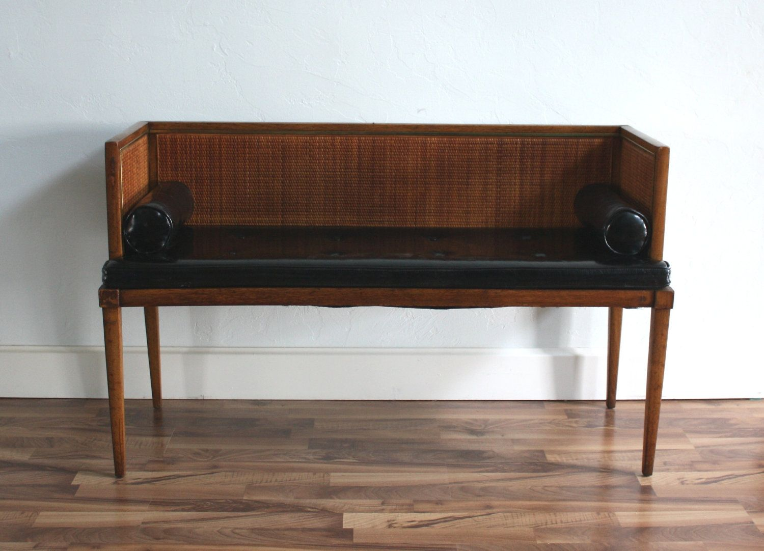 Vintage Mid Century Modern Settee Bench Sofa Black Leather Tufted Seat With Bolsters Mid Century Modern Settee Upholstered Settee Settee Bench