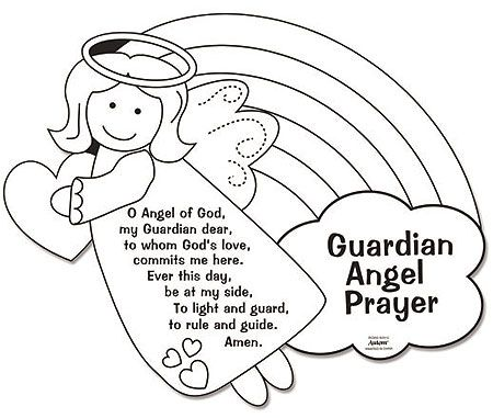 guardian angel color your own prayers | easter crafts for kids ... - Coloring Pages Angels Kids
