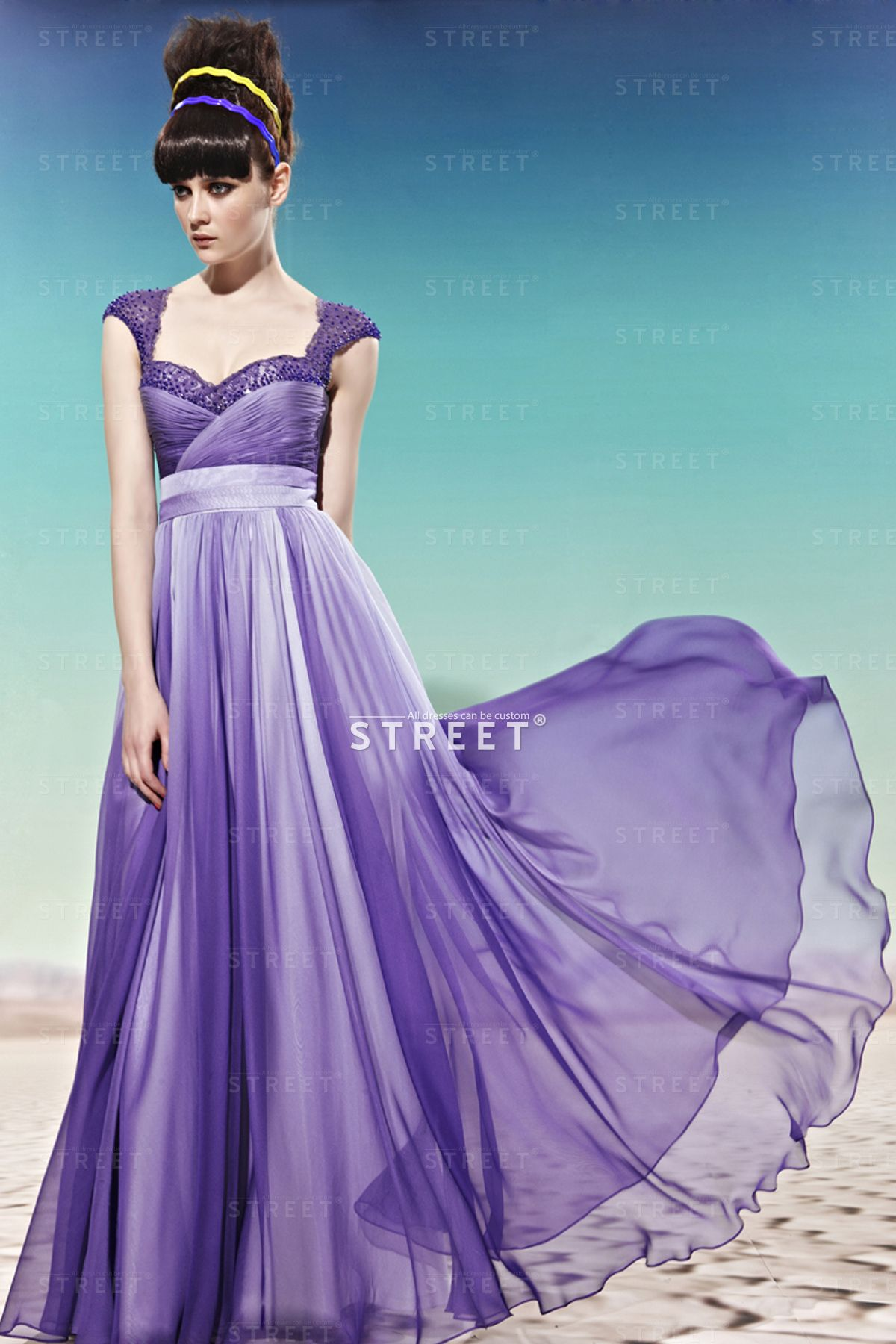 Scoop Neck Lavender Sleeveless Empire Waist Evening Dress Petite Uk ...