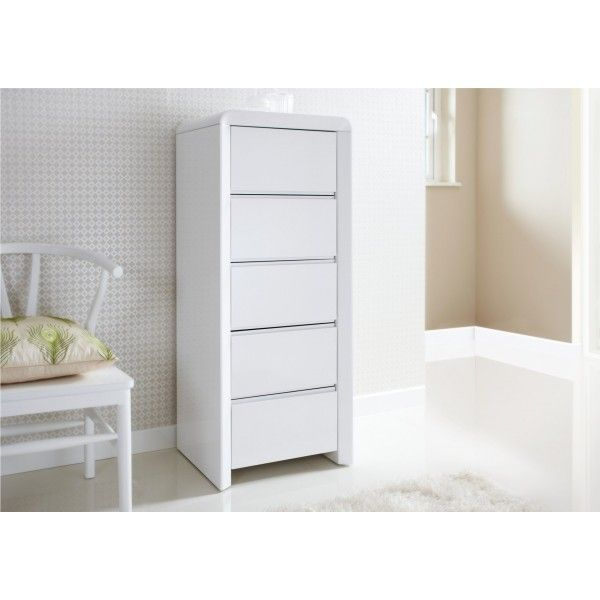 Ice High Gloss Tallboy White Chest of Drawers Furniture High
