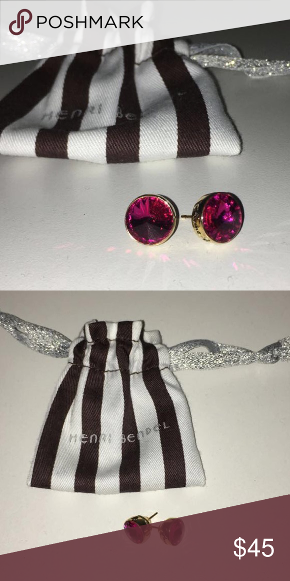 Henri Bendel Fuchsia Diamond Studs These are nearly brand new, only worn once or twice. They are in excellent condition! henri bendel Jewelry Earrings
