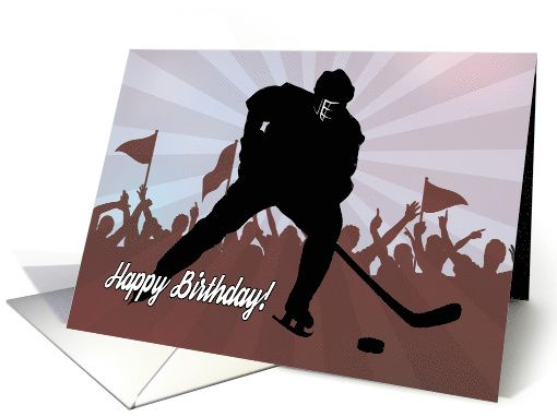 Silhouette hockey player in front of cheering crowd for birthday silhouette hockey player in front of cheering crowd for birthday card greetingcarduniversejjbdesigns m4hsunfo