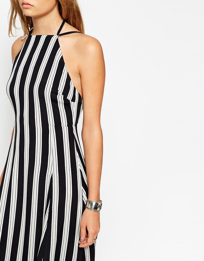 Image of asos maxi dress in stripe with high neck apparel
