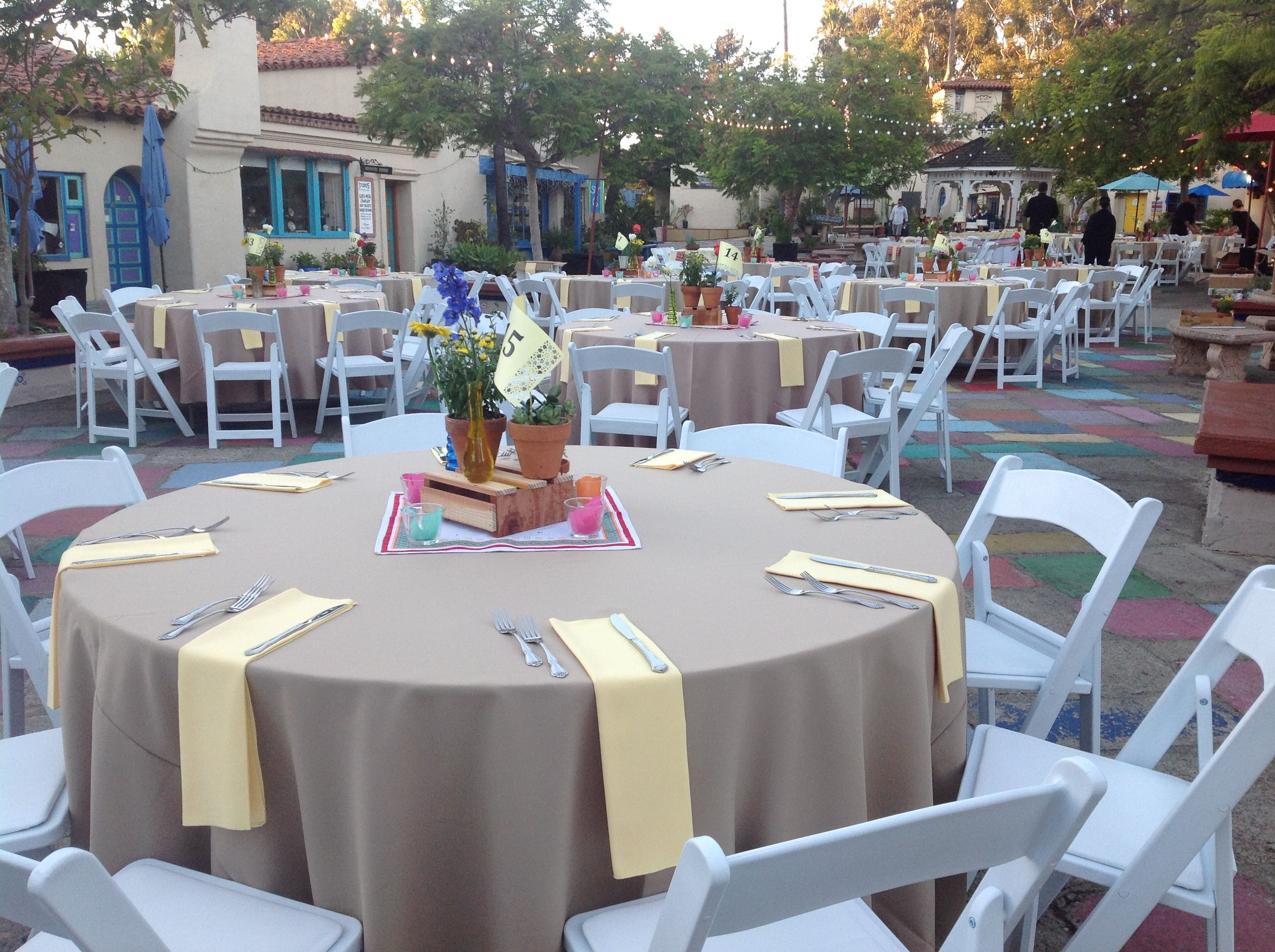 Spanish Village Art Center Wedding in Balboa Park Khaki linens