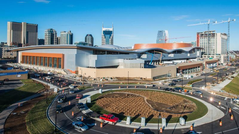 An Aerial Shot Of The Music City Center From The Roundabout Music City City Nashville