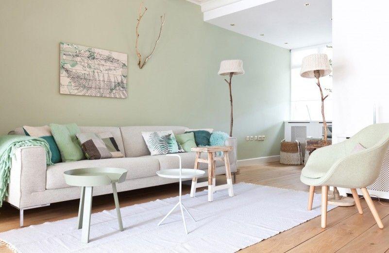 groene wand   Woonkamer   Pinterest   Interiors