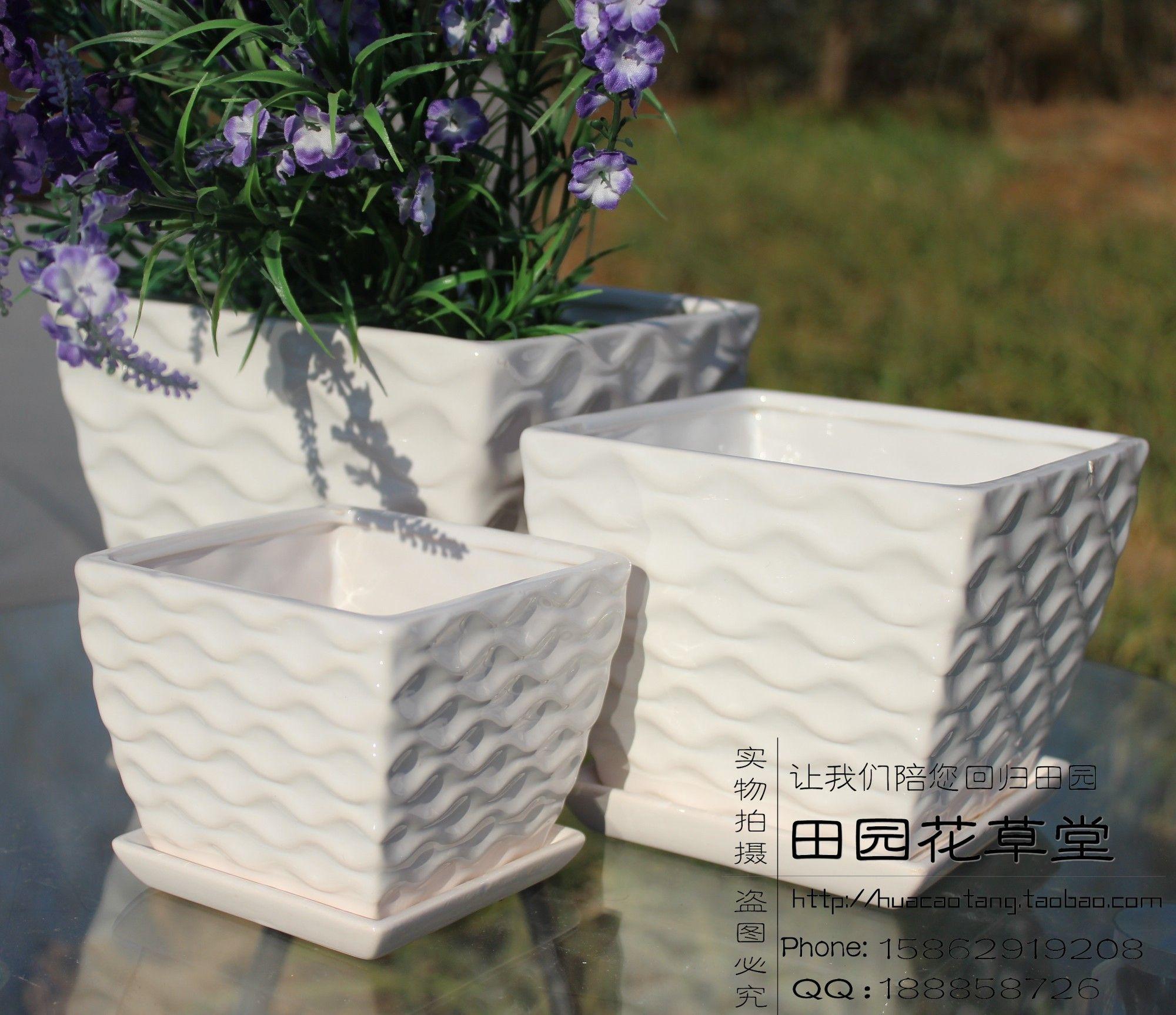 Square Flower Pot Ceramic Flower Pot White Brief Three