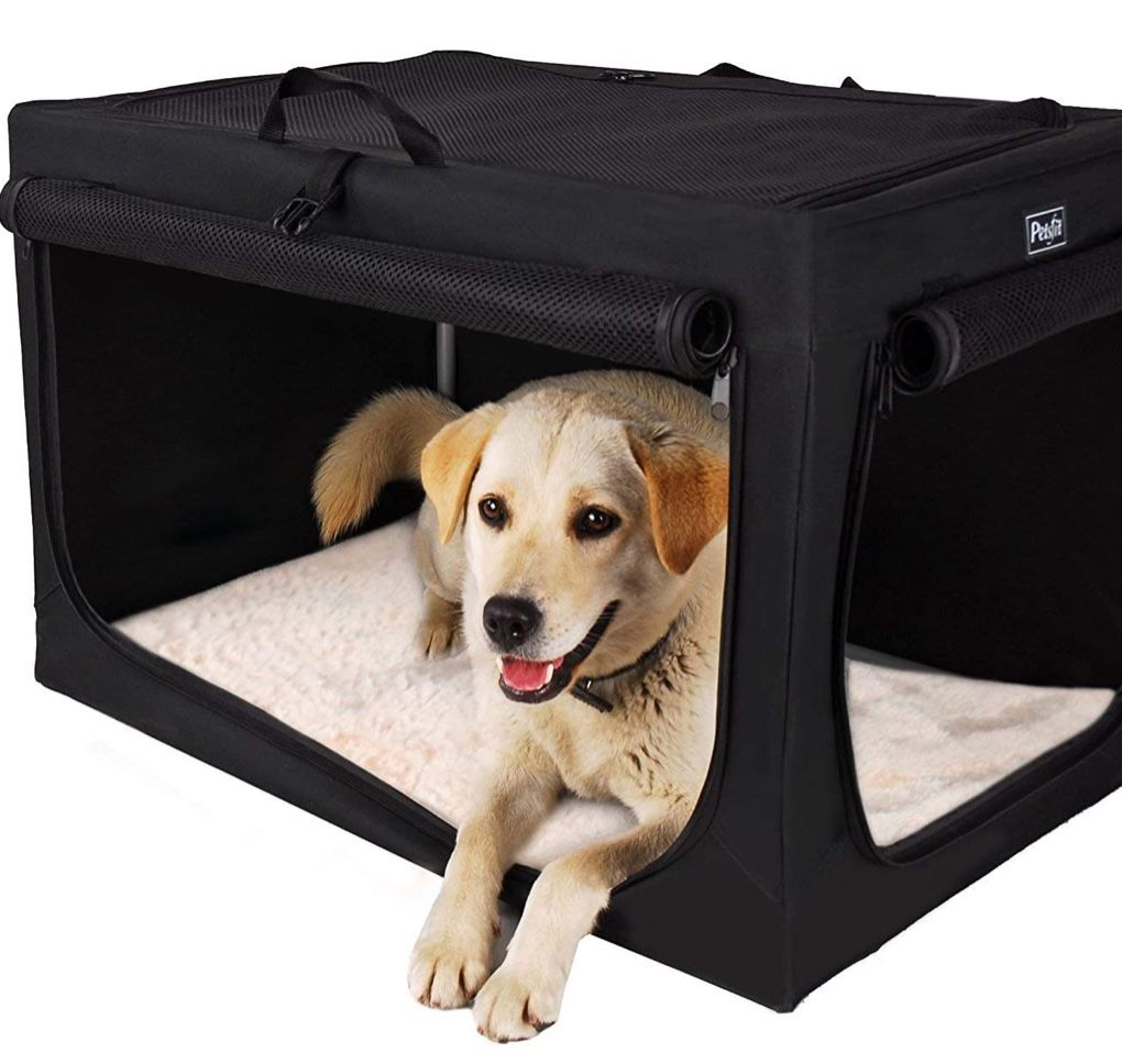 Petsfit Indoor Dog House Soft Fabric Dog Crate For Medium To Large Dogs Black In 2020 Dog Crate Soft Dog Crates Indoor Dog