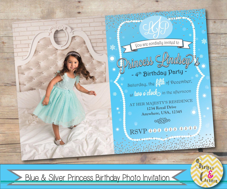 Ice princess birthday photo invitation Blue silver Frozen birthday