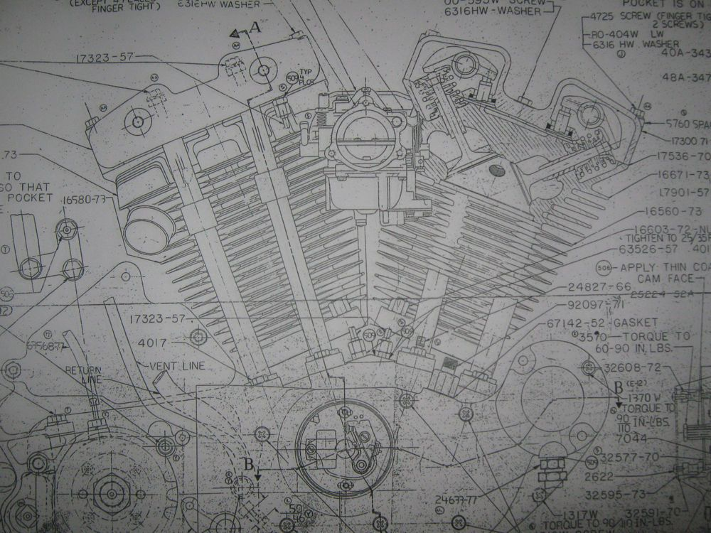 HARLEY DAVIDSON XL Sportster Engine Blueprint poster print showing - copy blueprint engines how to