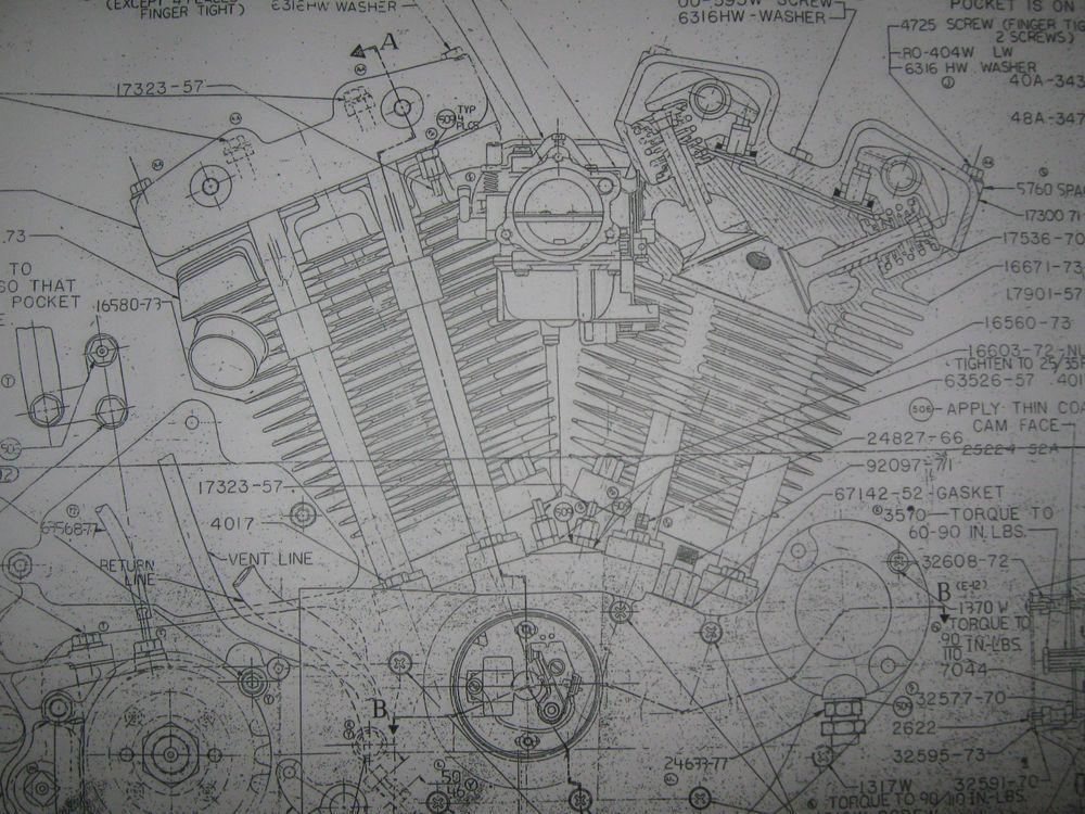 Harley Davidson SPORTSTER Engine Transmission Frame LOT Blueprints – Evolution Sportster Engine Diagram