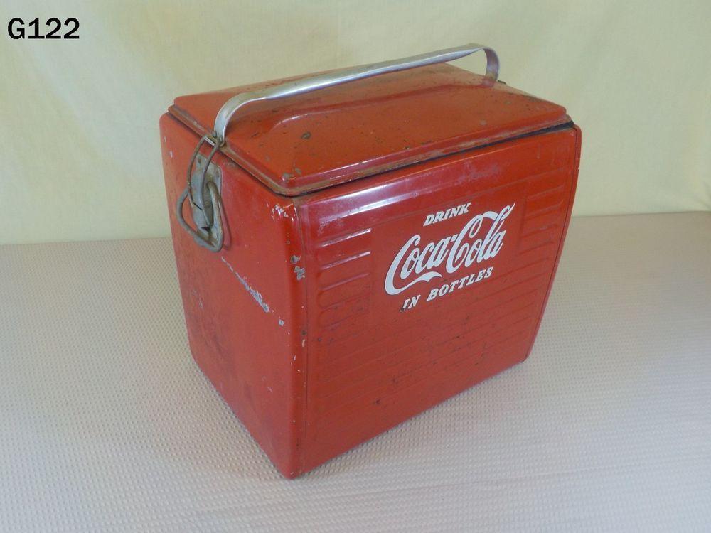VINTAGE DRINK COCA COLA IN BOTTLES COKE SODA POP DRINK METAL PICNIC COOLER RARE #CocaCola