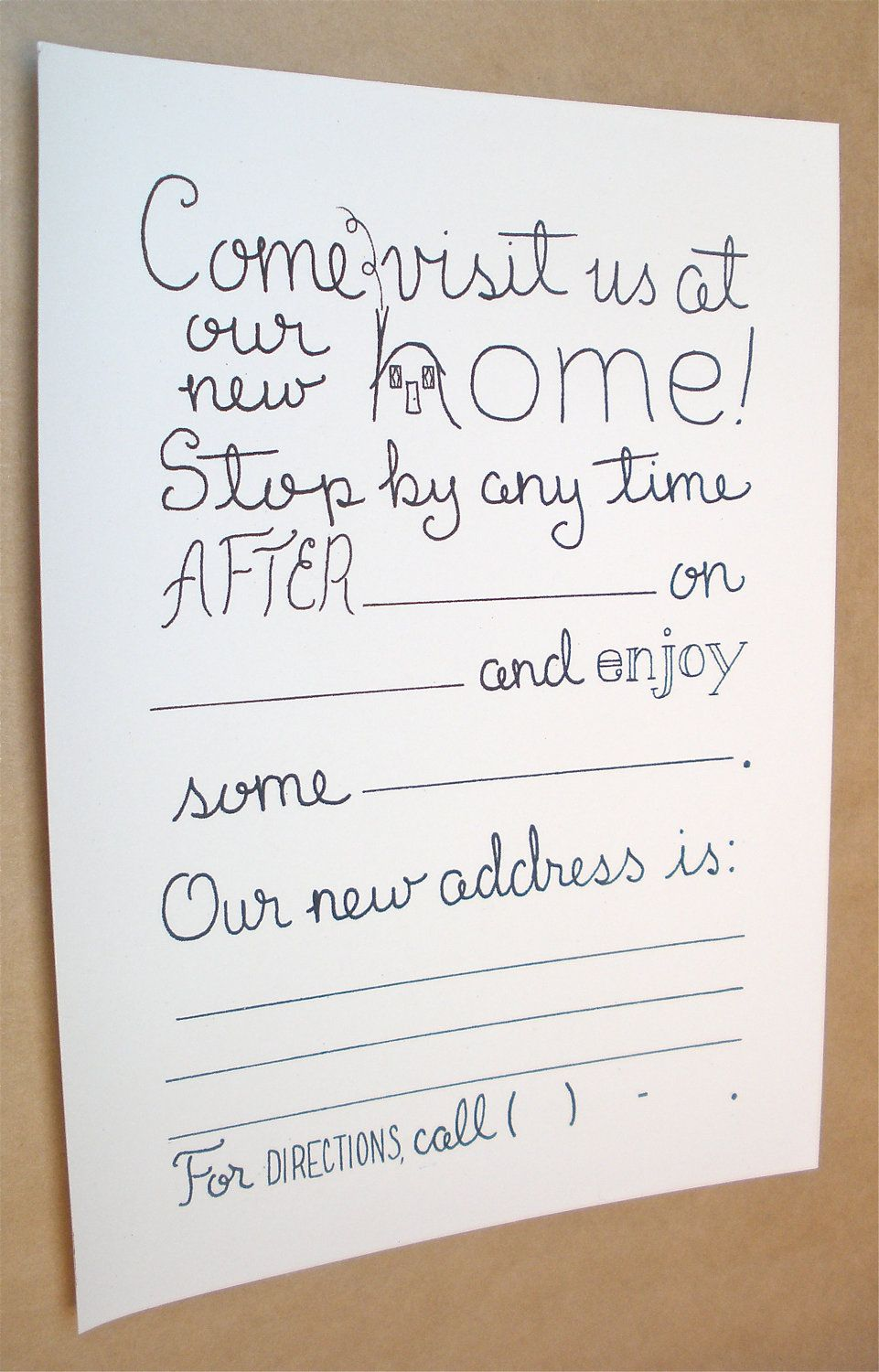 Housewarming Party Invitations, Fill In Invitations, Set of 8, New ...