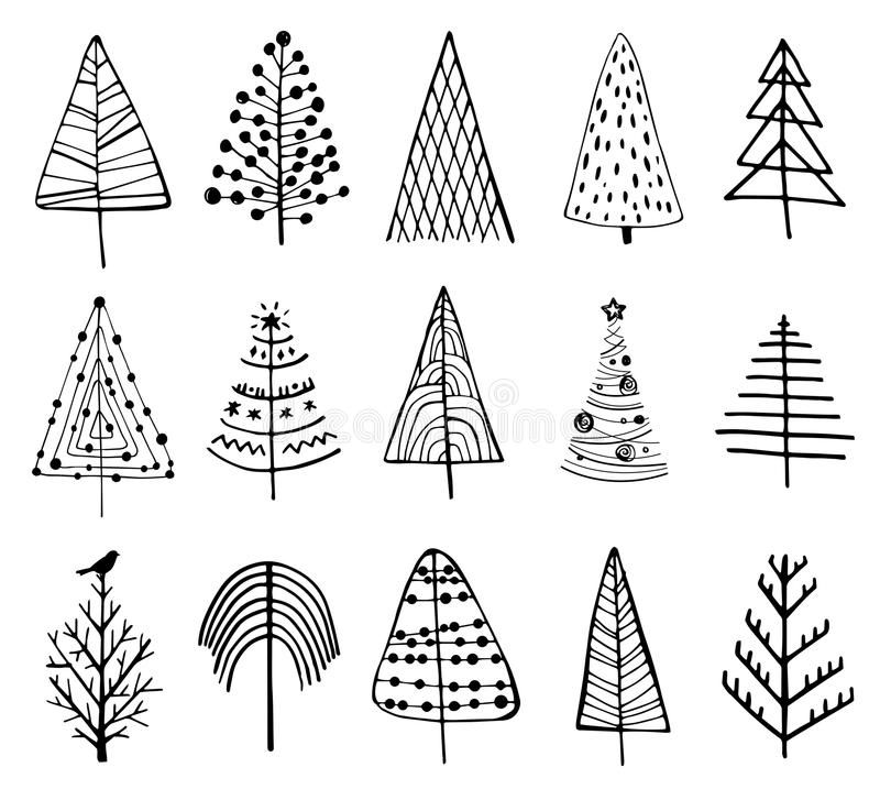 Set Of Doodle Christmas Trees Vector Illustration Christmas Tree Drawing Tree Doodle Tree Drawing Simple