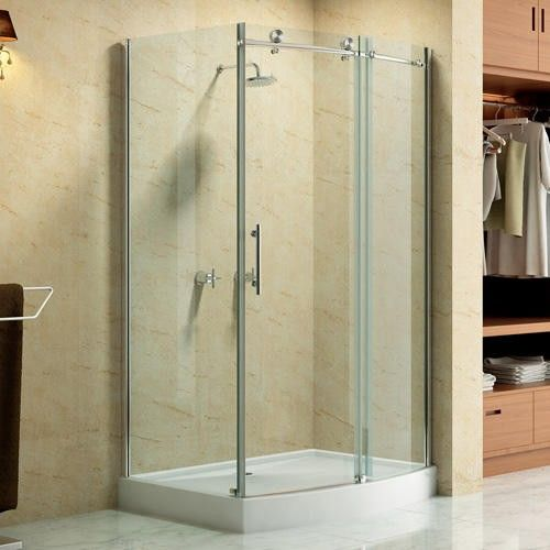 46 X 35 Rectangular Frameless Corner Shower Enclosure With
