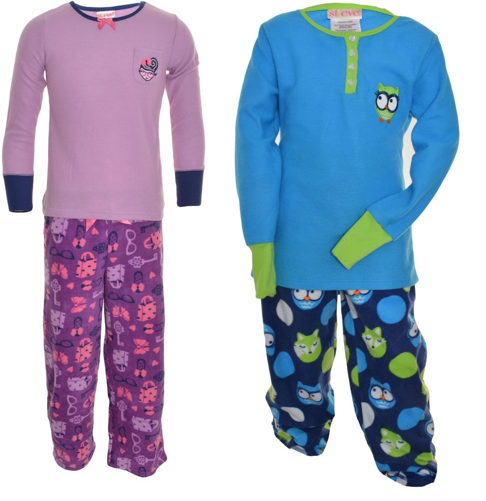 St Eve Girls 2 Piece Pajama Set Fleece Long Sleeve Sateen Ribbon Elastic  Waist ca2eafab5