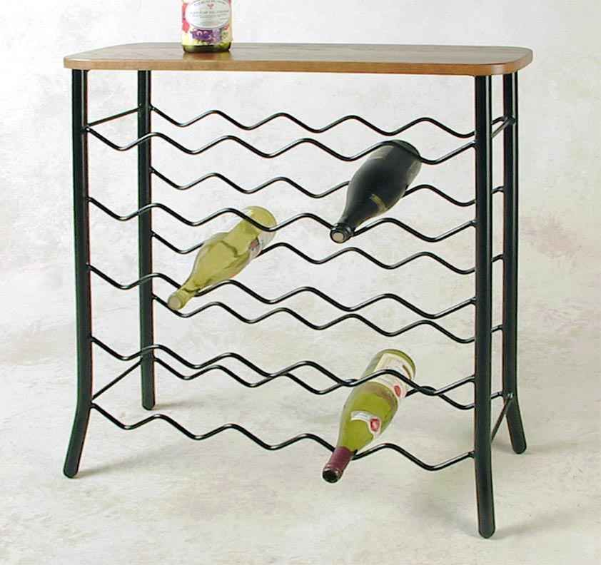 Wine Rack 25 Bottle Server Console Distressed Oak Wood Finish Table Top Iron  #gracecollections