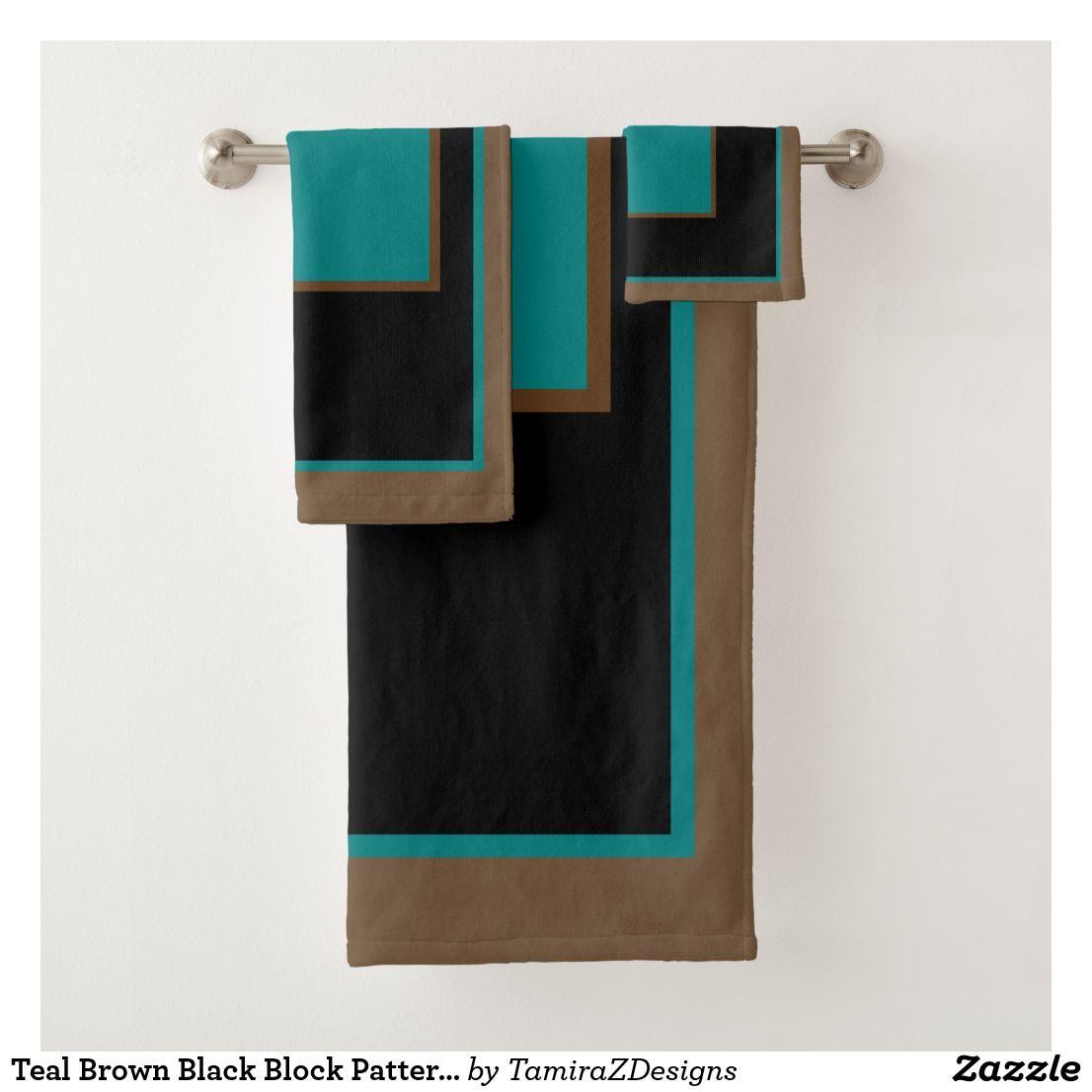 Teal Brown Black Block Patterned Bath Towel Set Zazzle Com With