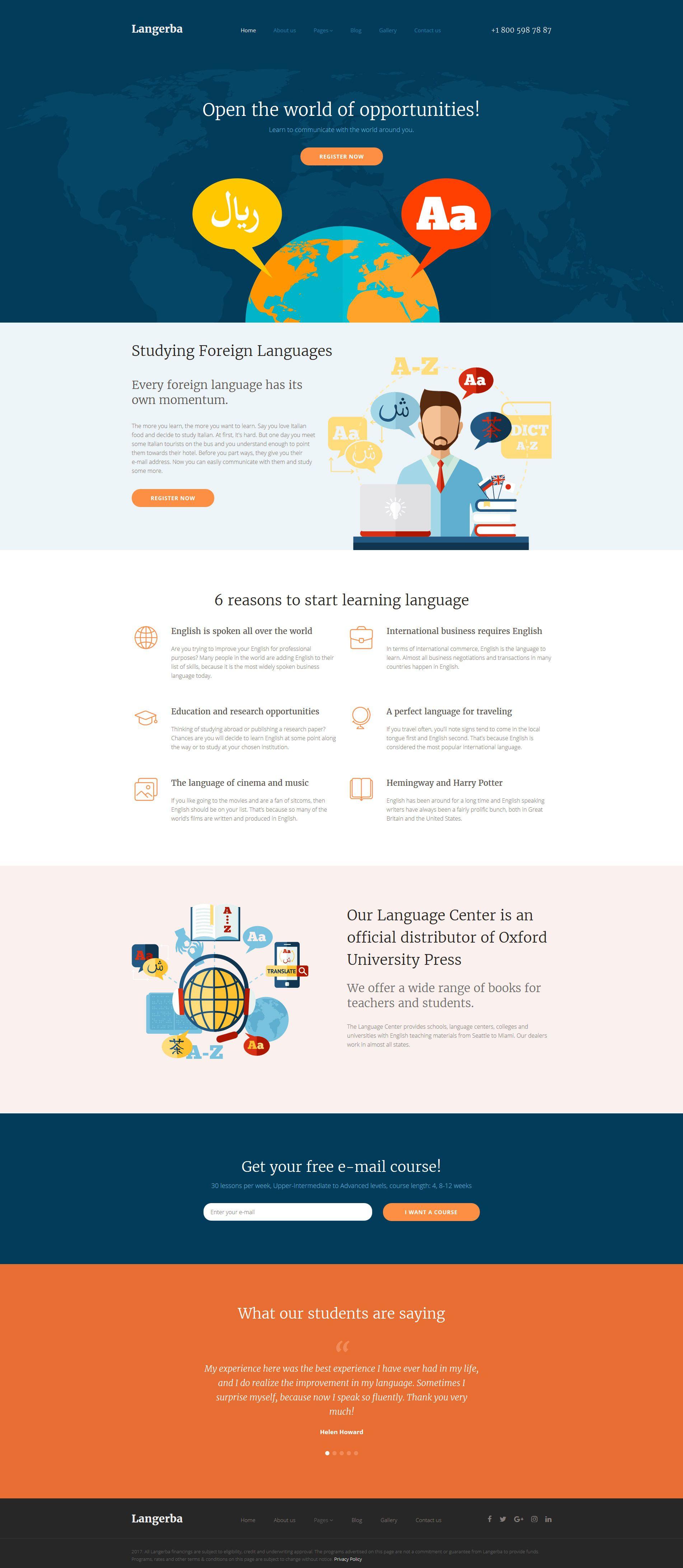 Language School Responsive Joomla Template - https://www ...