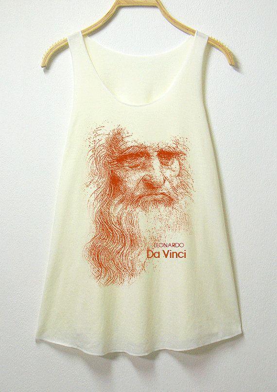 04777c58bca Leonardo Da vinci, women tank top, off white shirt, screenprint ...