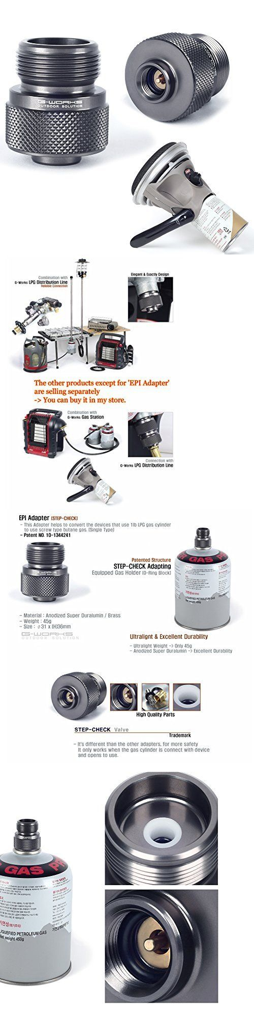 Parts and Accessories 181389: G Works Epi Gas Adapter Duralumin