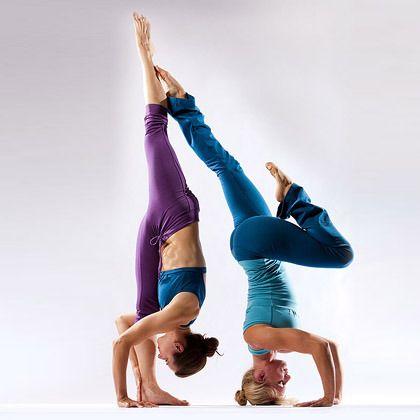 that's a mean standing splits  partner yoga yoga