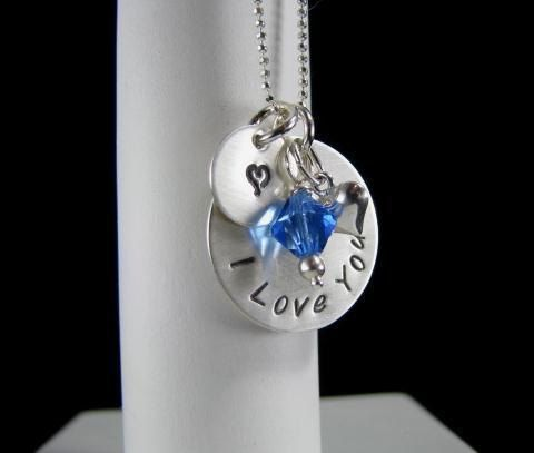 Sterling Silver Hand Stamped MOM I Love You by auctionprincess, $48.00