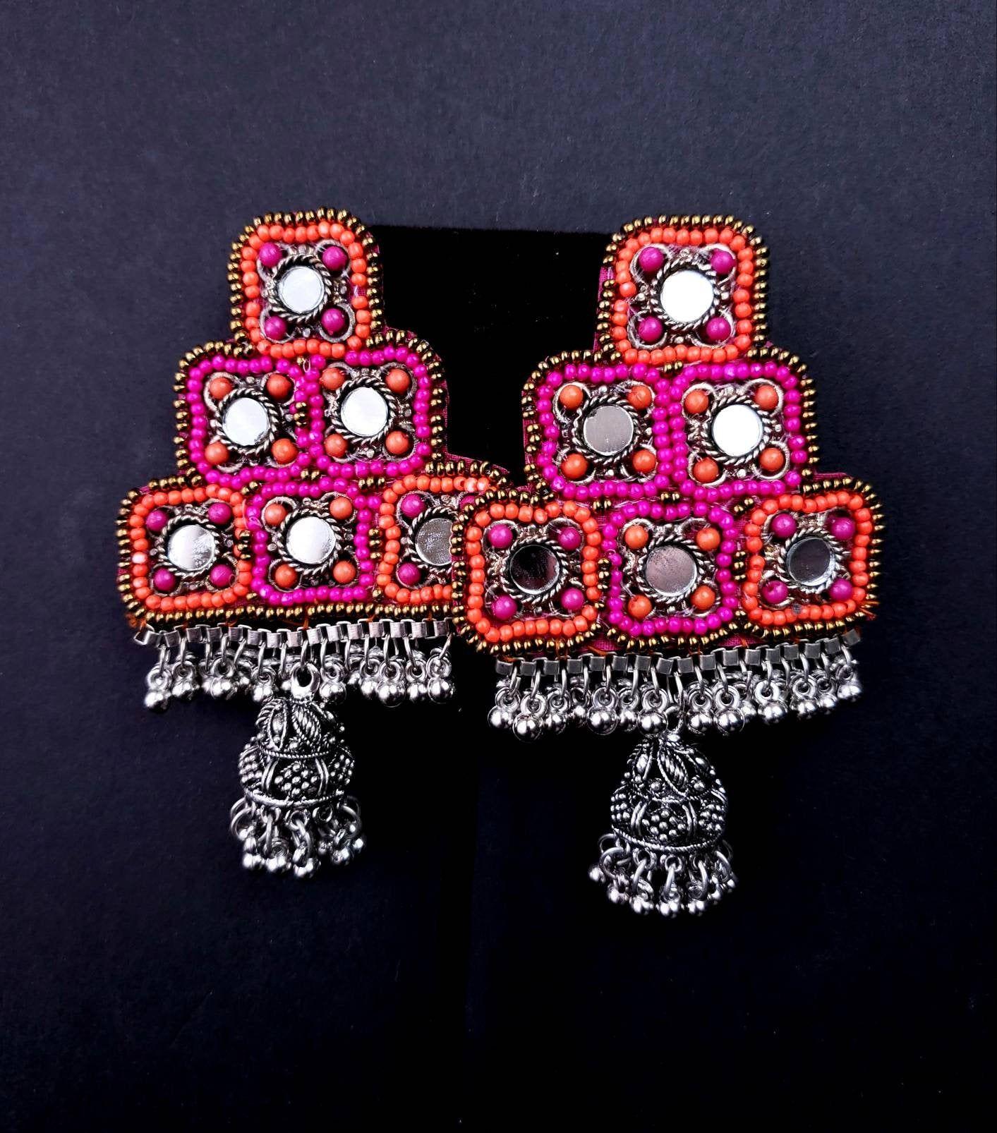 Afghani jewelry,Boho Rajastani earrings Belly dance ethnic jewelry Blue Afghani Kuchi coin choker and earrings in oxidized silver tribal