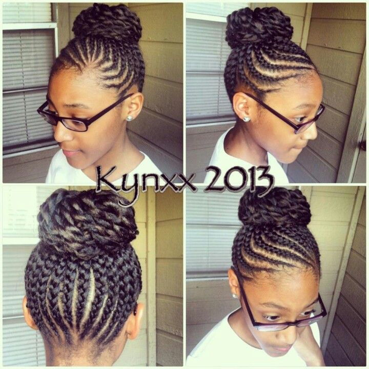 I Love Cornrow Bun Naturalhair Blackhair Natural Hair Styles Hair Styles Kids Hairstyles