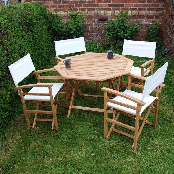 White Oak 4 Seater Directors Chair Garden Set On Sale Fast Delivery Greenfingers Com Outdoor Furniture Sets Garden Set White Oak