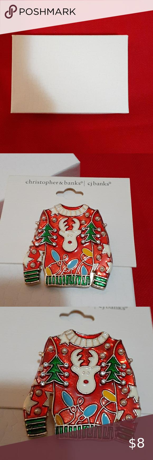 CHRISTOPHER & BANKS JEWELRY LADIES CHRISTMAS SWEATER BROOCHE Christopher & Banks Jewelry Brooches
