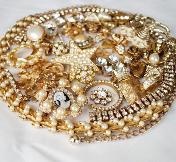 Sunshine Sparkle, Golden Rhinestone Destash, broken vintage jewelry lot, craft repurpose