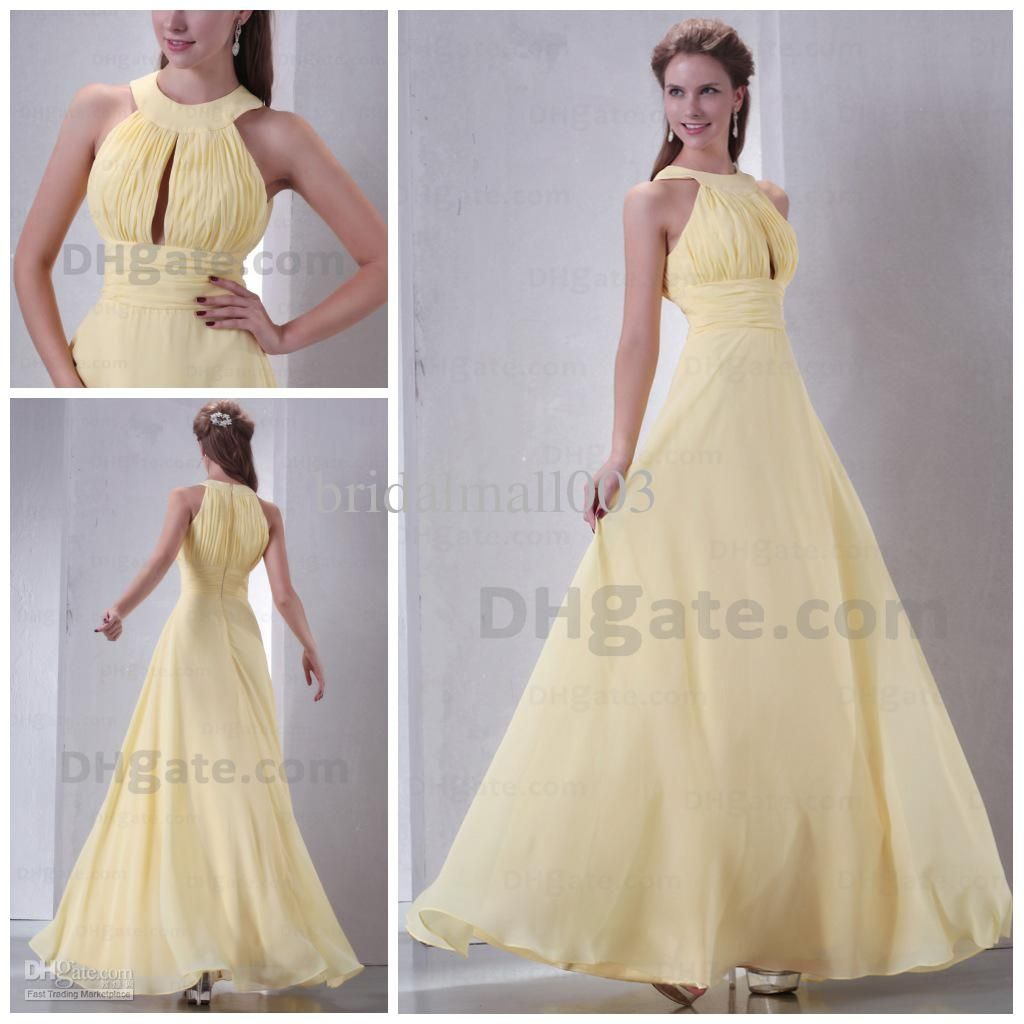 Modest yellow bridesmaid dresses bridesmaids dresses pinterest wholesale prom dresses buy new best 2013 long yellow chiffon evening ball cocktail prom bridesmaid dresses wedding gown lace prom ball gow ombrellifo Image collections