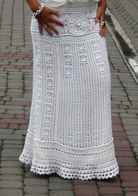 White maxi skirt wedding skirt bohemian skirt white long skirt ...