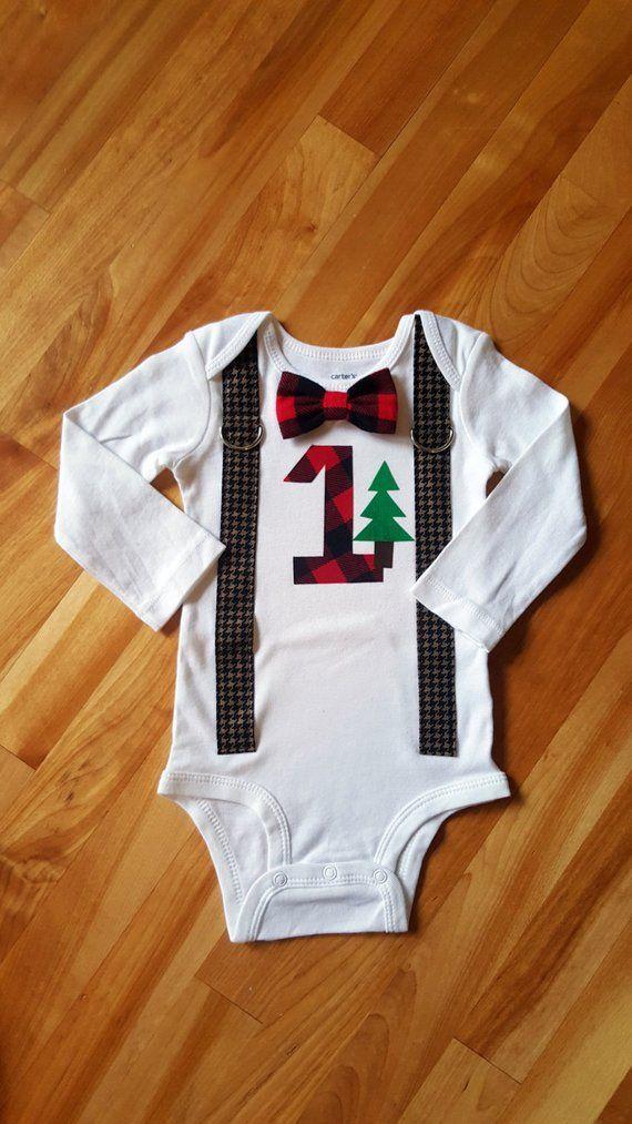 LumberJack Baby Boy Tie Bodysuit with Suspenders, Lumberjack First Birthday, Baby Boy Lumberjack, Bu #babyboybirthday