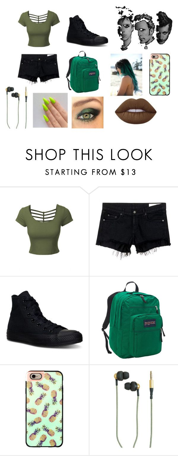 """Green Day Outfit"" by futurefashiondesighner-938 ❤ liked on Polyvore featuring LE3NO, rag & bone/JEAN, Converse, JanSport, Casetify, Kreafunk and Lime Crime"